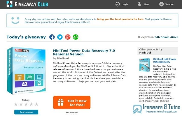 Offre promotionnelle : MiniTool Power Data Recovery 7.0 gratuit !