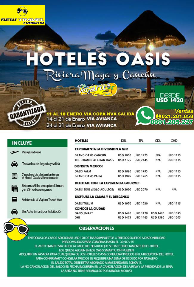 New Travel Turismo: CANCUN / RIVIERA MAYA / Hoteles OASIS