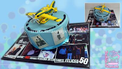 tarta personalizada fondant modelado avioneta hidroavión anfibio airtractor avión cumpleaños fotos polaroid laia's cupcakes puerto sagunto