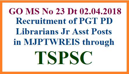 Recruitment of PGT PD Librarians Jr Assistant Posts in MJPTBCWREIS through TSPSC