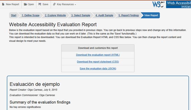 Pantalla del último paso de la herramienta que contiene el informe. Tras los enlaces de descarga, comienza el informe con los datos generales y el resumen ejecutivo.