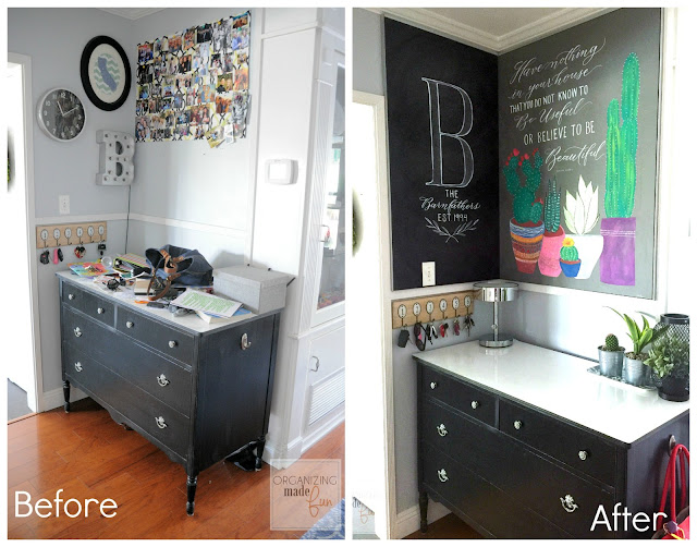 BEFORE and AFTER of command center with Formica wall and counter surfaces