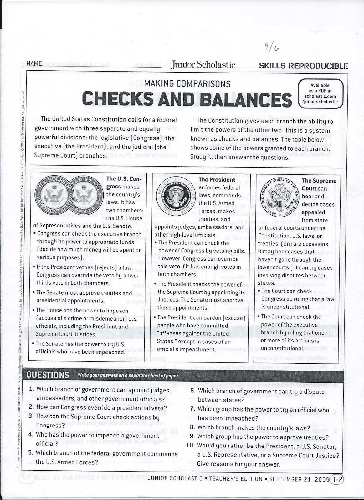 Us Government Checks And Balances Diagram 1990 Ford F250 Wiring Gms 6th Grade Social Studies September 2013
