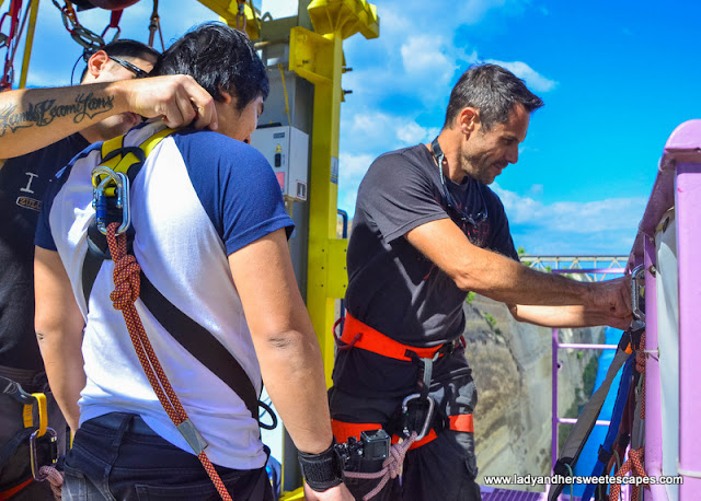 preparing for the jump in Zulu bungy Greece