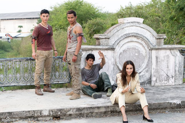 Tiger Hu Chen, Tony Jaa, Celina Jade, and Iko Uwais in Triple Threat (2019)