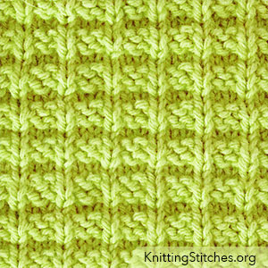 This Ridge Rib uses only knits and purls, worked in multiple of 3 sts plus 1 and a 4-row repeat, so even a newer knitter can knit it.