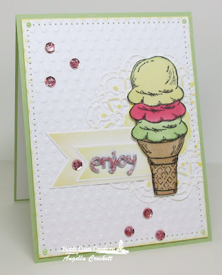 North Coast Creations What's The Scoop?, ODBD Custom Pennants Dies, ODBD Custom Doily Dies, Card Designer Angie Crockett