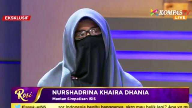 Penyesalan, Nurshadrian Khaira Dhania, Wanita Bercadar yang Pernah Bangga Gabung ISIS: Betapa Bodohnya Saya!