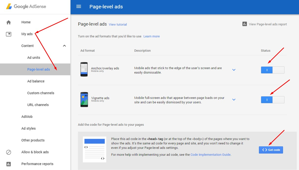 Adsense Page-level-ads set up to blogger