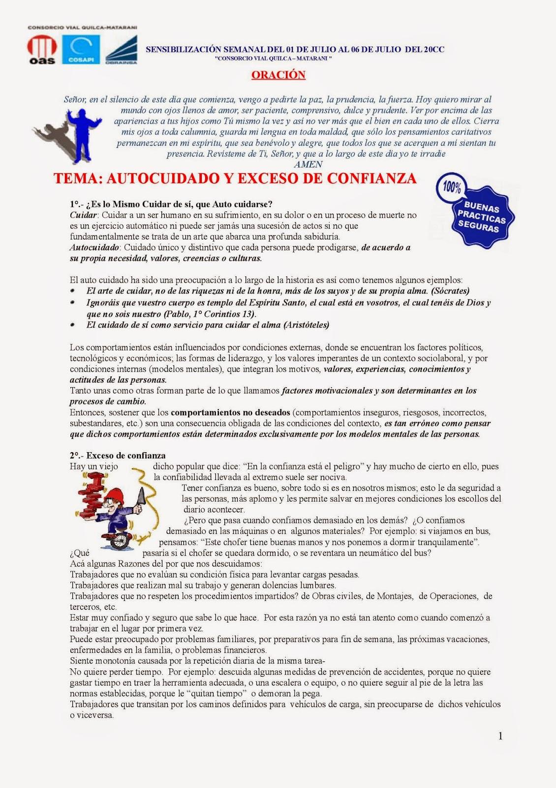 Charlas De Sensibilizacion Seguridad Salud Ocupacional Y