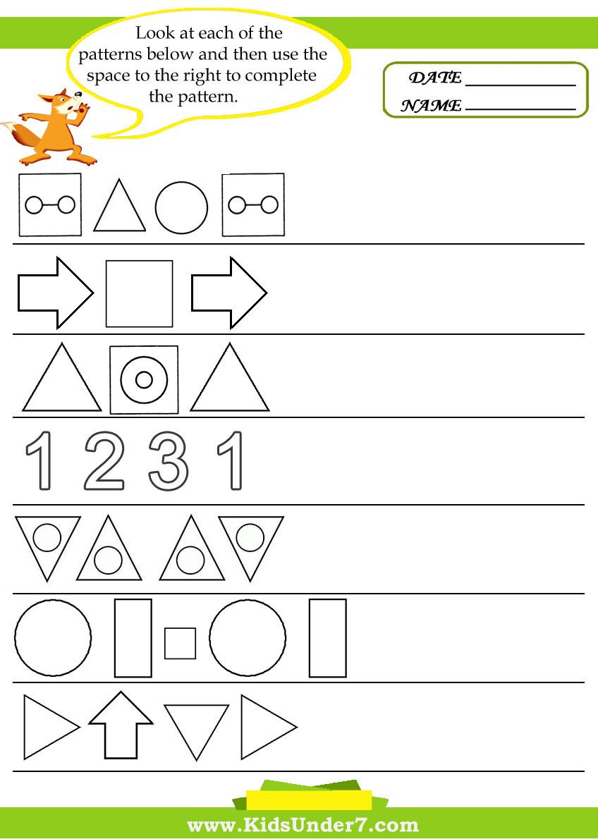 Worksheets Printable Pattern Worksheets kids under 7 pattern recognition worksheets