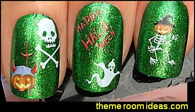 NAIL ART WATER DECALS TRANSFERS STICKERS HALLOWEEN GHOST PUMPIN SKELETON