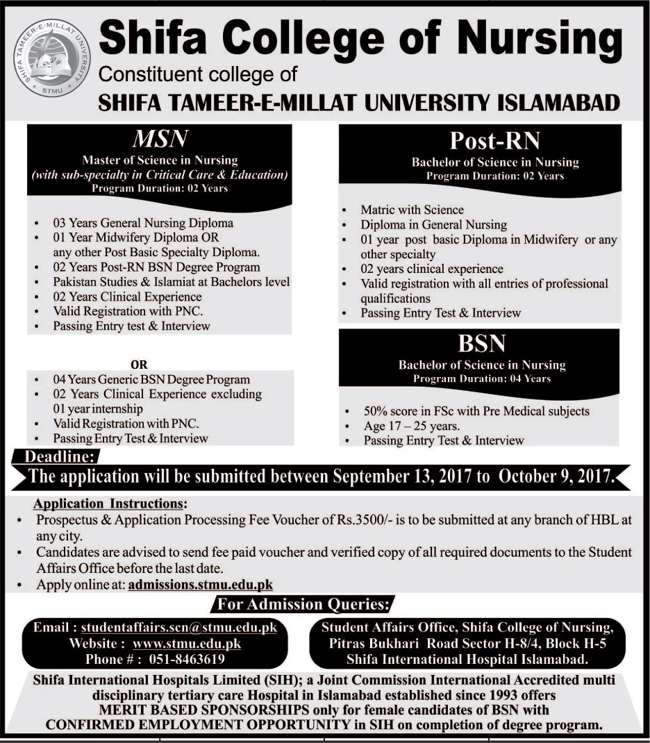 Admissions Open in Shifa College of Nursing Islamabad - 2017