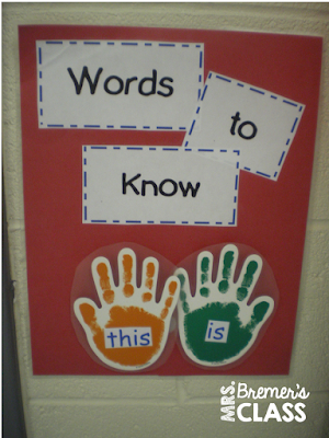Sight Word practice chart for students to High Five on their way out the door!