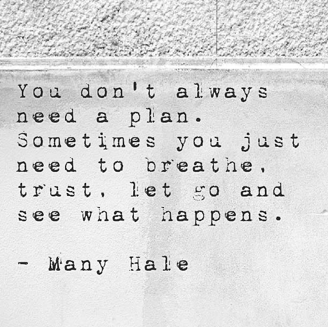 You don´t always need a plan. Sometimes you jus need to breathe, trust, let go and see what happens. - Mandy Hale