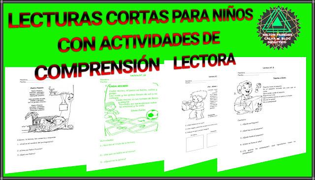 LECTURAS CORTAS PARA NIÑOS CON EJERCICIOS DE COMPRENSIÓN LECTORA