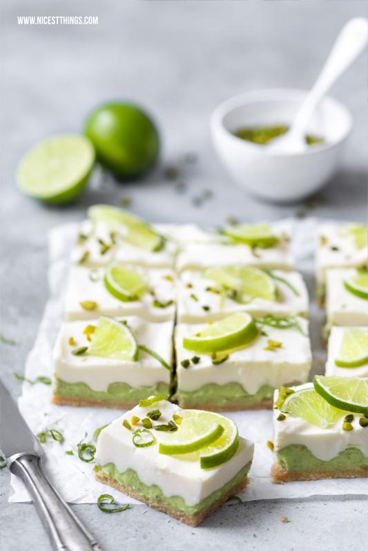 Avocado Limette Bars No Bake Frischkäse Torte Schnitten