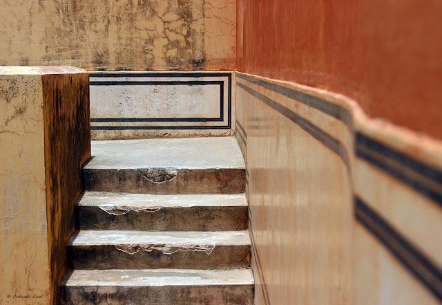 A Minimalistic Photograph of a Staircase at Hawa Mahal Jaipur, India