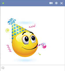 Birthday party emoticon for Facebook