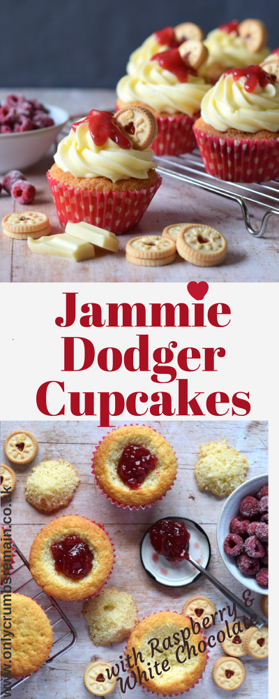 These Jammie Dodger Cupcakes are perfect for those who love the popular sandwich biscuit /  cookie.  The cupcake and buttercream frosting ispimped up even more with the use of raspberry & white chocolate flavour combination.