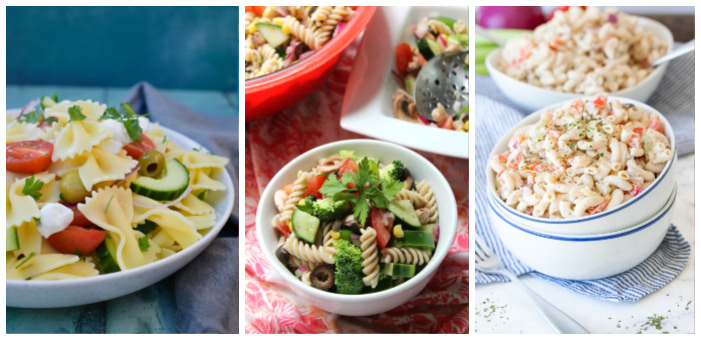 three vegan picnic pasta salads