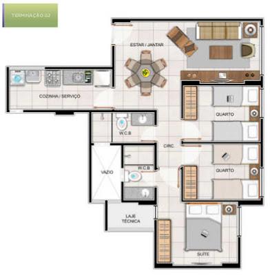 Este apartamento será composto de: 03 quartos / 01 suíte, sala de estar e jantar, cozinha, área de serviço, banheiro social, 1 vaga de garagem.