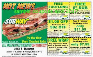 free Subway coupons april 2017