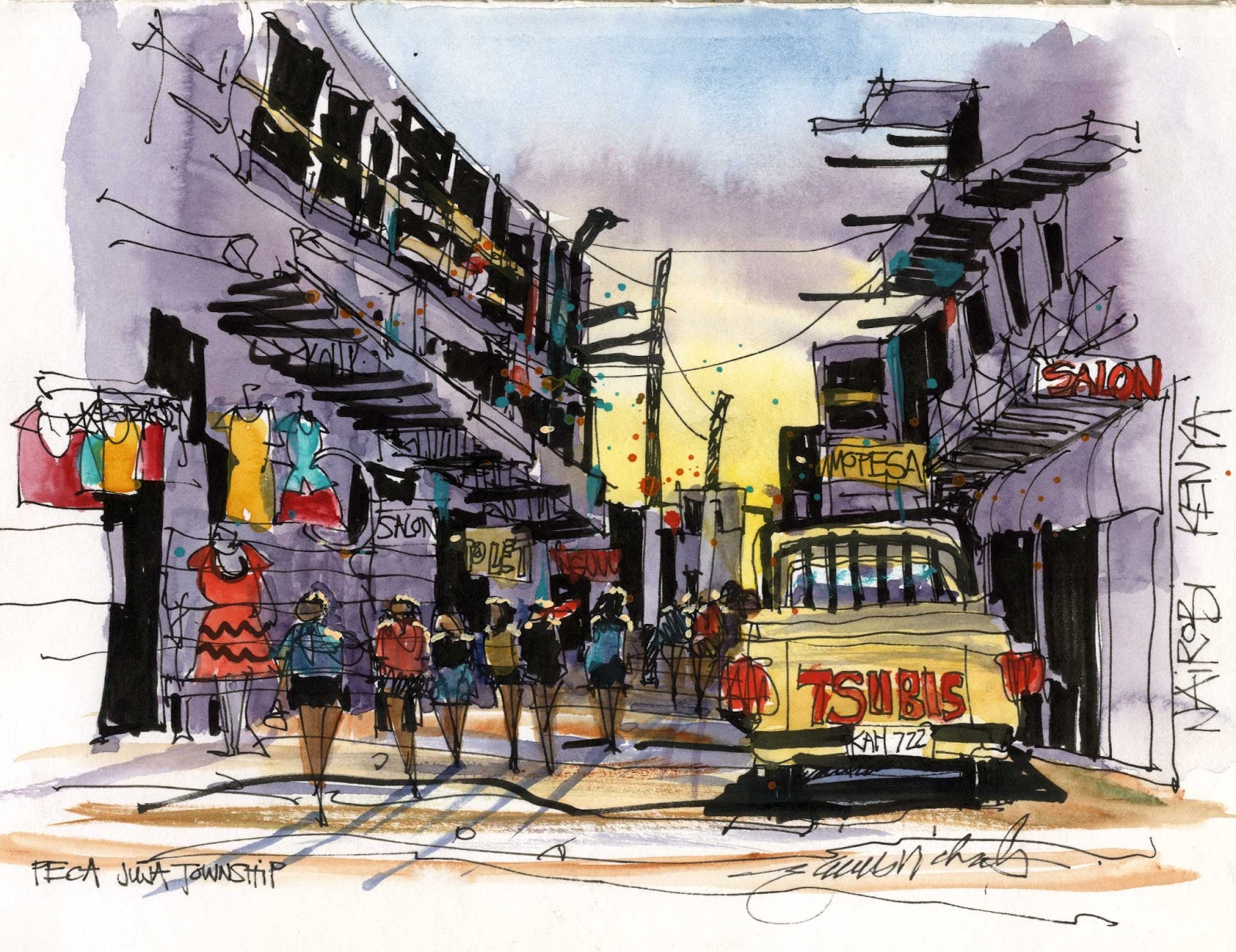 My sketch of street life in peca juja township just outside the gates of jomo kenyetta university this was the site of the sketchwalk with students