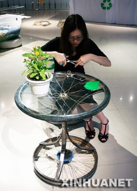 Mesas hechas con partes de BICICLETAS  Curiosas IDEAS