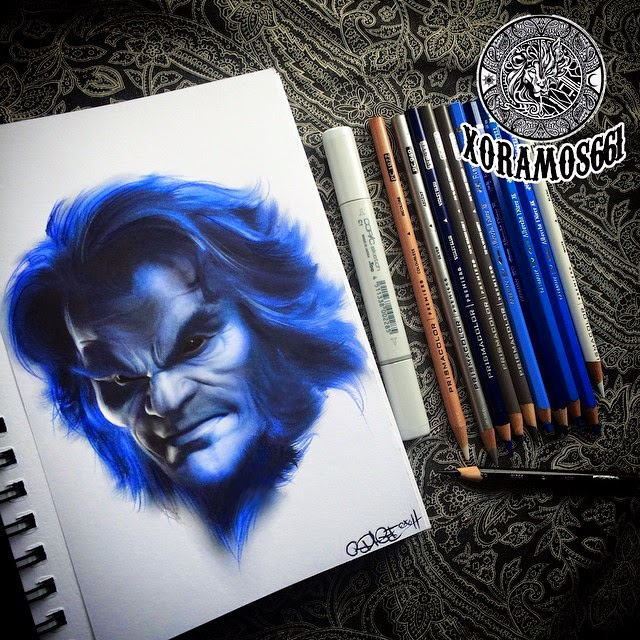 17-X-Men-Beast-Ramos-Ruben-xoramos661-Photo-Real-Comic-Book-Coloured-Drawings-www-designstack-co