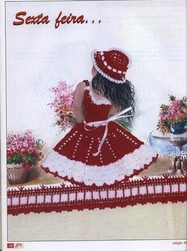 trajes postales a crochet, vestidos apliques, miniaturas tejidas