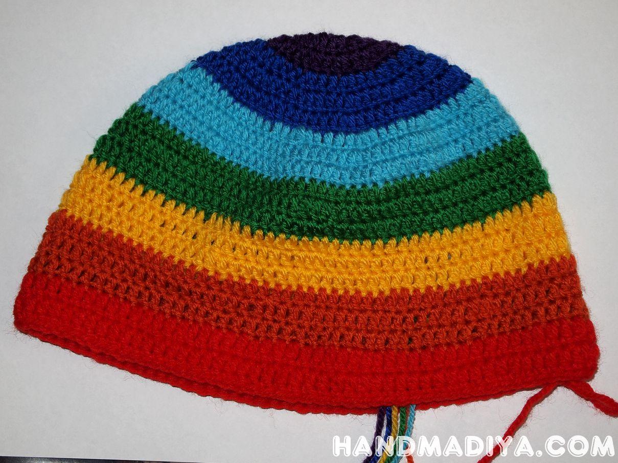 """Шапка «Радуга» крючком.  Hat """"Rainbow"""" Crochet"""