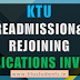 Readmission and Rejoining Applications Invited  | Even Semester January 2018 in KTU | Circular