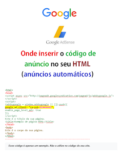 Onde inserir o código de anúncio no seu HTML (anúncios automáticos)