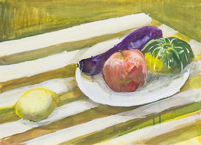 横浜美術学院の中学生教室 美術クラブ 「夏休み美術教室。」アクリル絵の具課題の完成作品