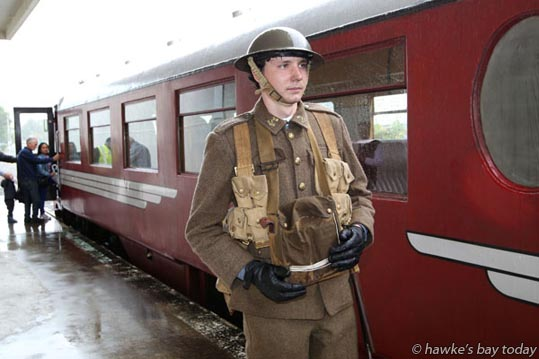 Daniel Close, Auckland, dressed as a WW1 New Zealand Army soldier, Third Auckland Regiment, who would have helped out in the 1931 Earthquake. For the first time in many years, the RM-31 Vintage Railcar ran shuttles from the old Napier Railway Station to Hastings and return, part of the Tremains Art Deco Festival. photograph