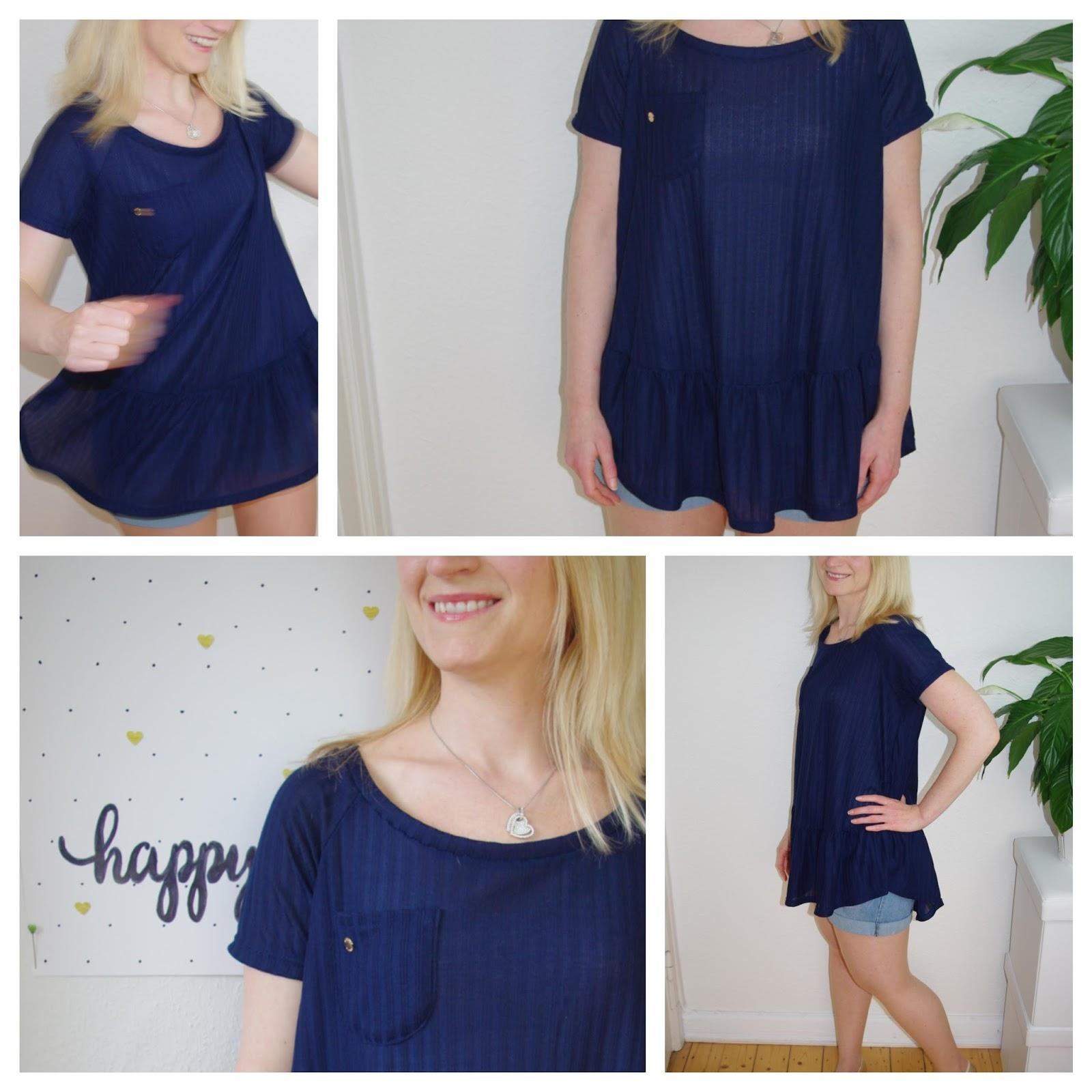 Collage selbst genähtes Waterfall Raglan Shirt in Blau nach dem Schnittmuster für Frauen von Chalk & Notch  für 12 Colours of Handmade Fashion  - Nähblog