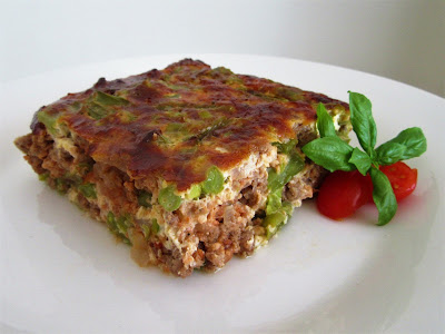 Casserole - moussaka with green string beans