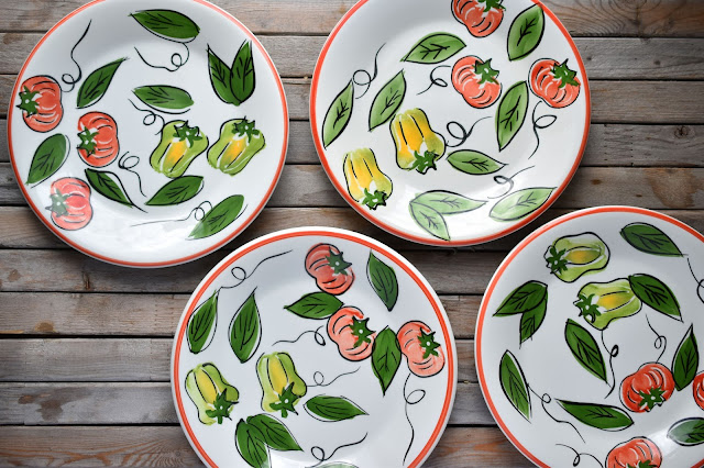 Thrifty finds - Pier 1 hand-painted in Italy pepper and tomato plates