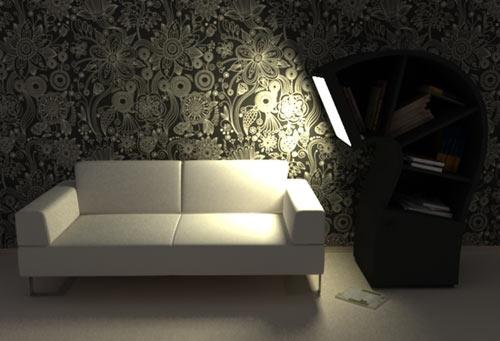Diseño industrial de sillón.