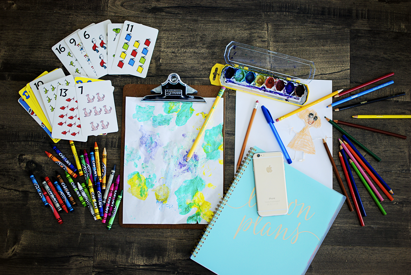 Flatlay With Crayons Planner Phone Watercolor Paints - One Room Challenge Kid Friendly Office Makeover Inspiration