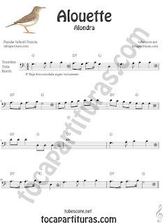 Trombón, Tuba Elicón y Bombardino Partitura de Alouette (Alondra) Canción infantil Sheet Music for Trombone, Tube, Euphonium Music Scores (tuba en 8ª baja)