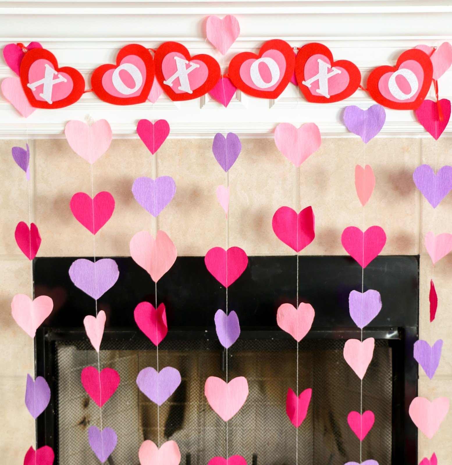 Home Decoration Ideas By Paper: Crepe Paper Heart Decorations