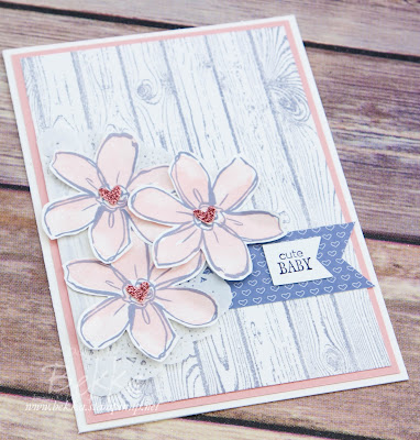 Cute New Baby Girl Card Made Using Stampin' Up! UK Supplies