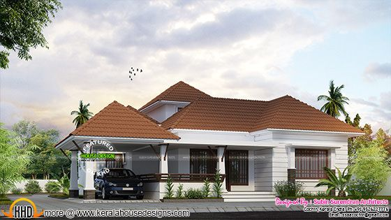 Kerala model 1768 sq-ft one floor home