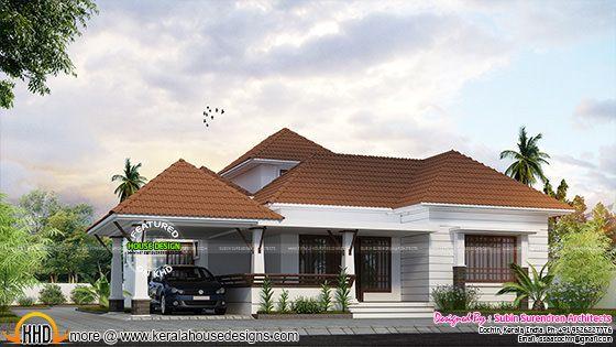 Kerala model 1768 sq-ft one floor home