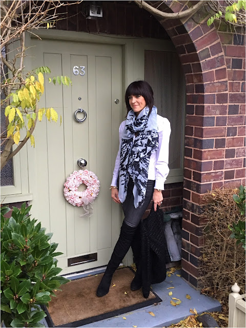 My Midlife Fashion, Becksondergaard Silk Mix Scarf, Schuh Dash Over the knee boots, Zara biker jeans, Somerset Alice Temperley Ruffle Blouse, Massimo Dutti Boucle jacket