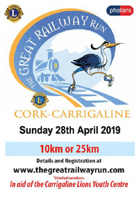 The Great Railway Run is coming up this year on Sun 28th Apr 2019. Cork to Carrigaline 25kms or Monkstown to Carrigaline 10km. Info... https://corkrunning.blogspot.com/2019/01/notice-great-railway-run-10km-or-25km.html