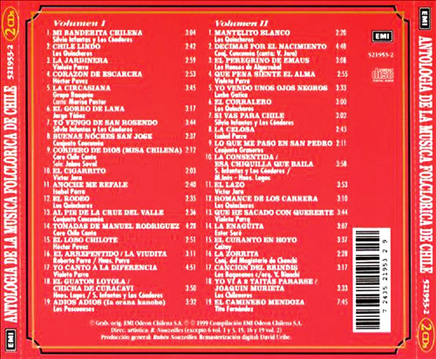 CD Antologia de la música chilena cd1 -cd2 BACK
