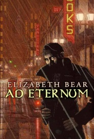 Cover of Ad Eternum, featuring a man standing in shadow while a red rainstorm rages around him.
